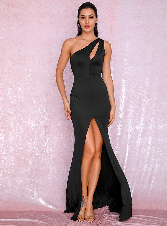 Mikayla One Shoulder Gown - Black