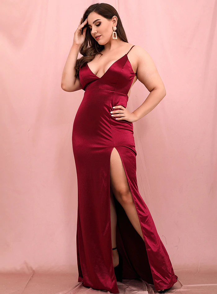 Candace Burgundy Red Satin Gown