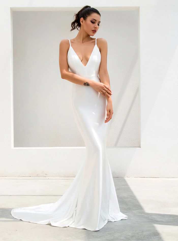 Darcia Satin Gown - Ivory White
