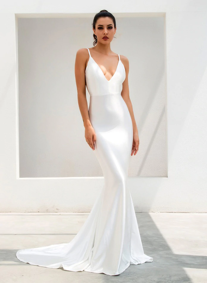 Darcia Satin Gown - Ivory White – Micaah