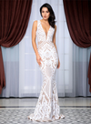 Amira Sequins Gown - Ivory White
