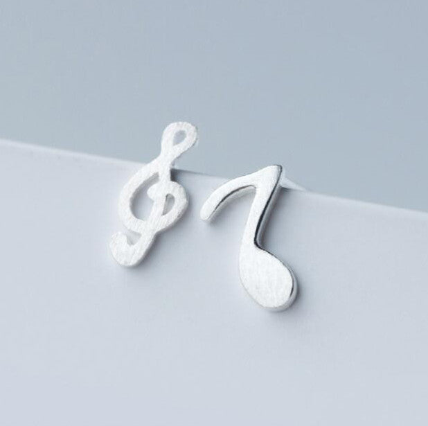 Sterling Silver Music Note Studs
