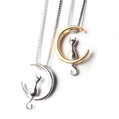 Sterling Silver Cat & Moon Necklace