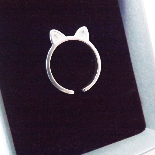 Sterling Silver Cat Ears Ring