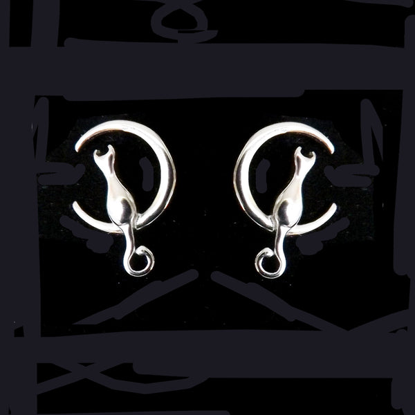 Sterling Silver Cat & Moon Studs