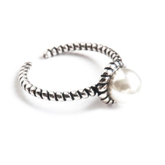 Sterling Silver Twisted Pearl Ring