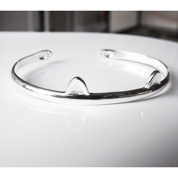 Sterling Silver Cat Ears Bangle