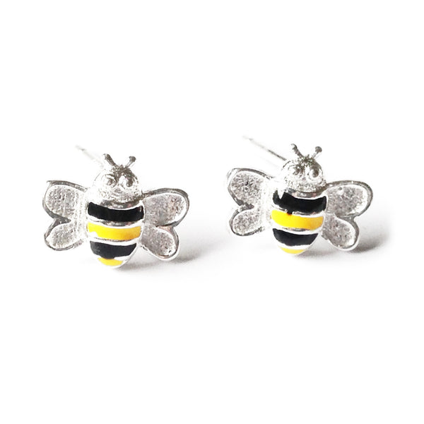 Sterling Silver Bee Studs