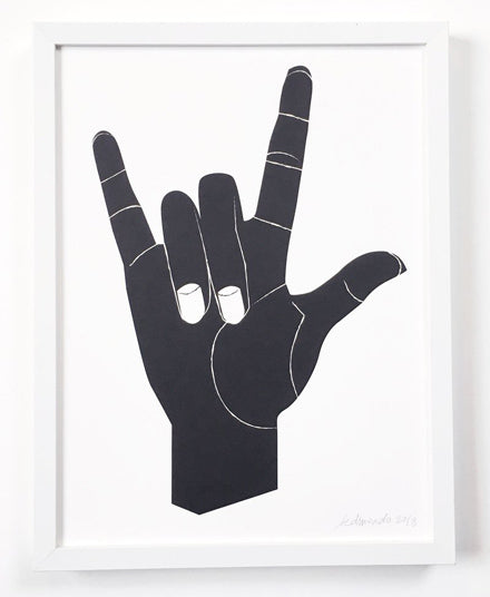 Art Print, I Love You In American Sign Language
