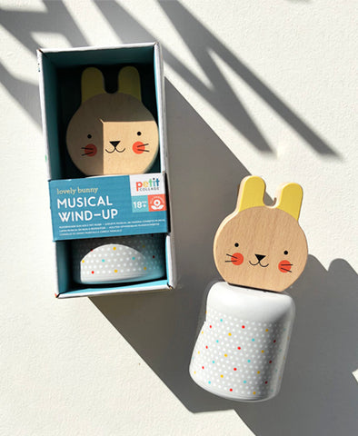 Wooden Wind-Up Musical Bunny