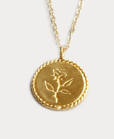 Necklace, Rose Coin Gold