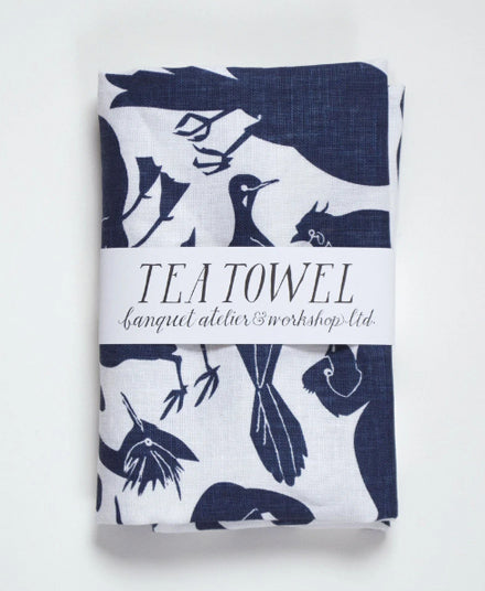 Linen Tea Towel, Birds