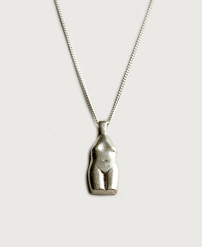 Necklace, The Woman Vase in Silver