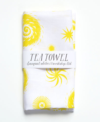 Linen Tea Towel, Yellow And White FIreworks