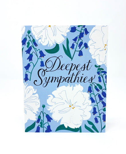 Greeting Card, White and Blue Floral Condolence Card