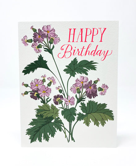 Greeting Card, Happy Birthday Primula