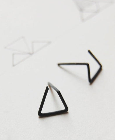 Earrings, Line Triangle No. 6