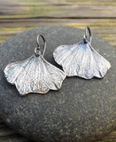 Oxidized Silver Gingko Leaf Earrings