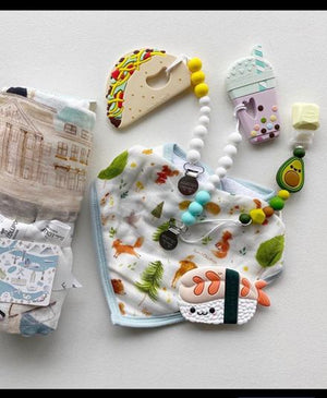 Swaddle Blanket, Bib Set, Teethers