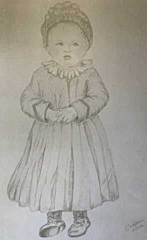 my grandma nonni as a child, drawn in pencil by my mother.