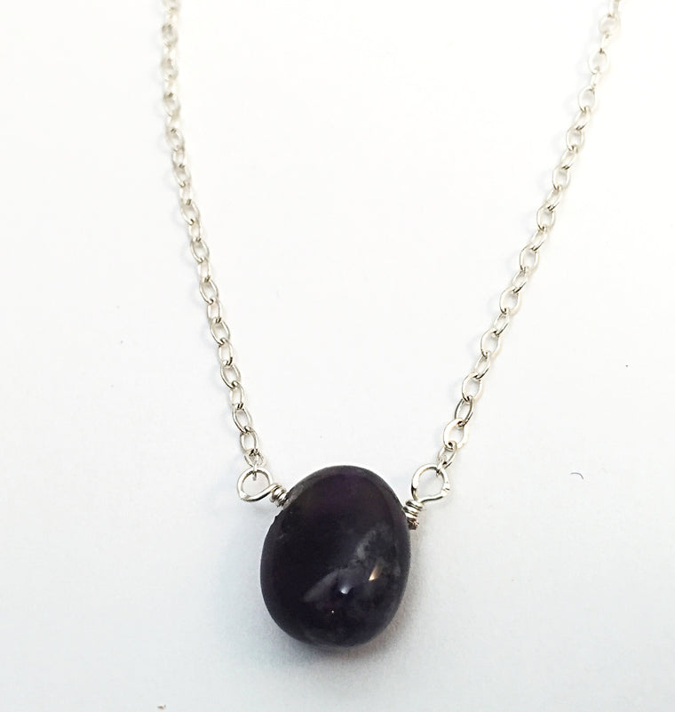 amethyst on silver. (meditative + calming)