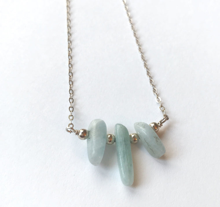 Aquamarine necklace. (courage + protection)