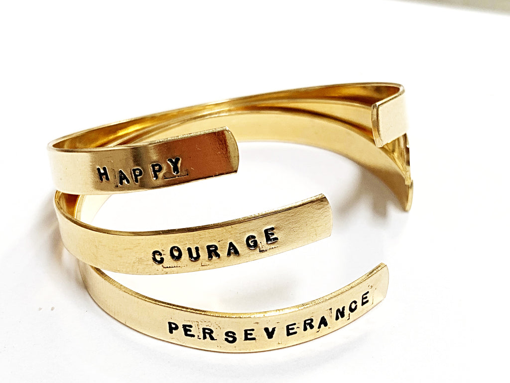 courage bracelet in brass (strength + confidence)