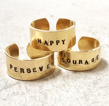 Load image into Gallery viewer, courage ring in brass (strength + confidence)