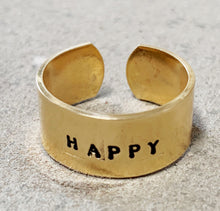 Load image into Gallery viewer, happy ring in brass (joy + gratitude)