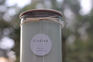 kindred candle. (oudwood + patchouli)