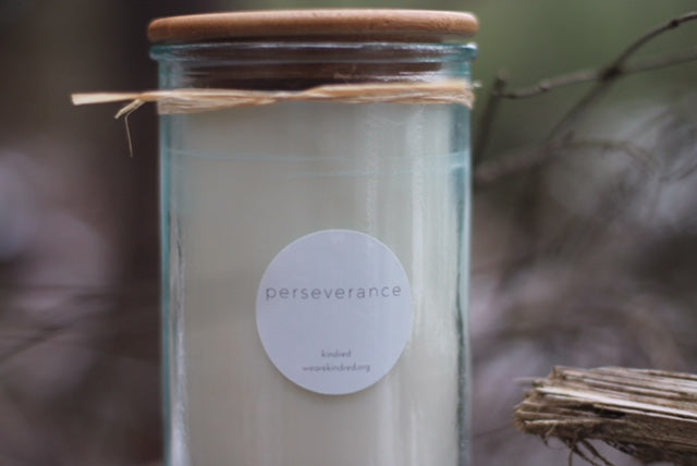 perseverance candle. (teakwood + tayberry)