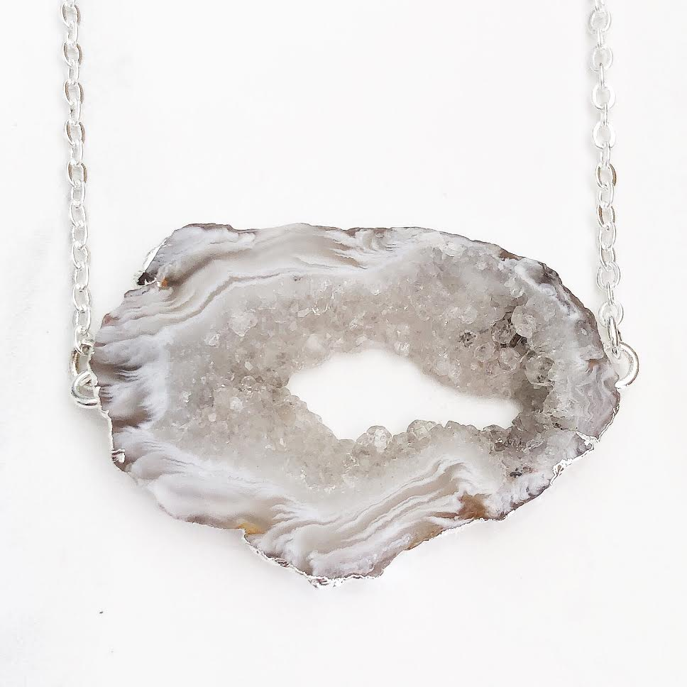 Silver Natural Geode Bar Necklace