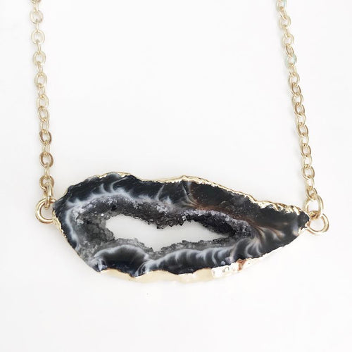 Gold Natural Geode Bar Necklace