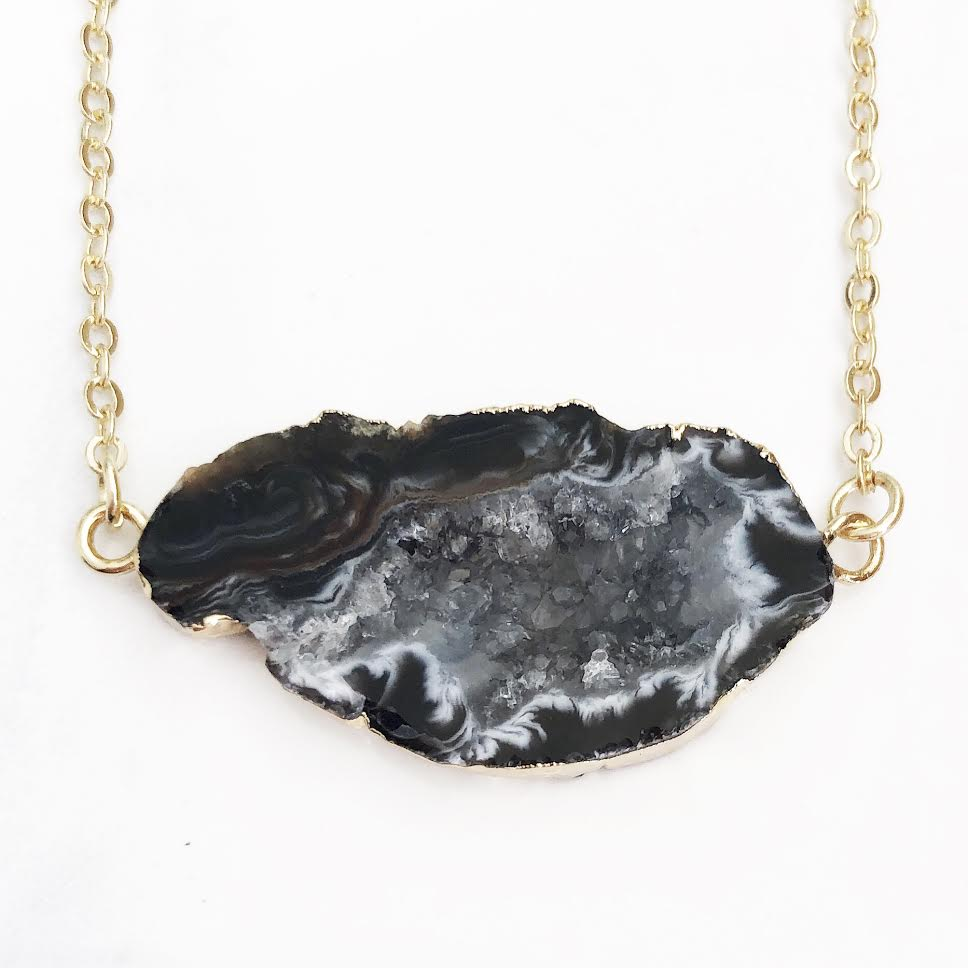 Gold Natural Geode Necklace