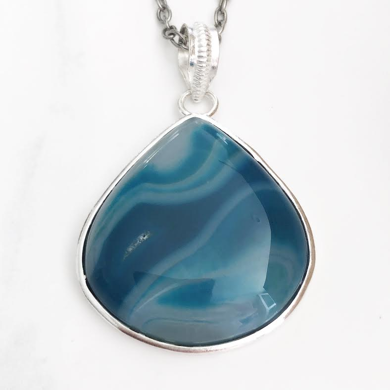 Silver Teal Agate Necklace