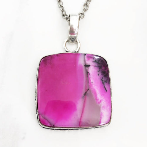 Silver Pink Dendritic Opal Necklace