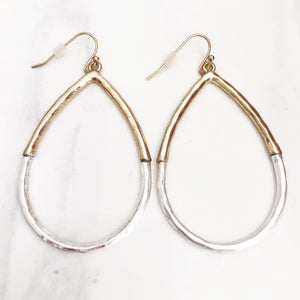 Silver + Gold Hammered Hoops