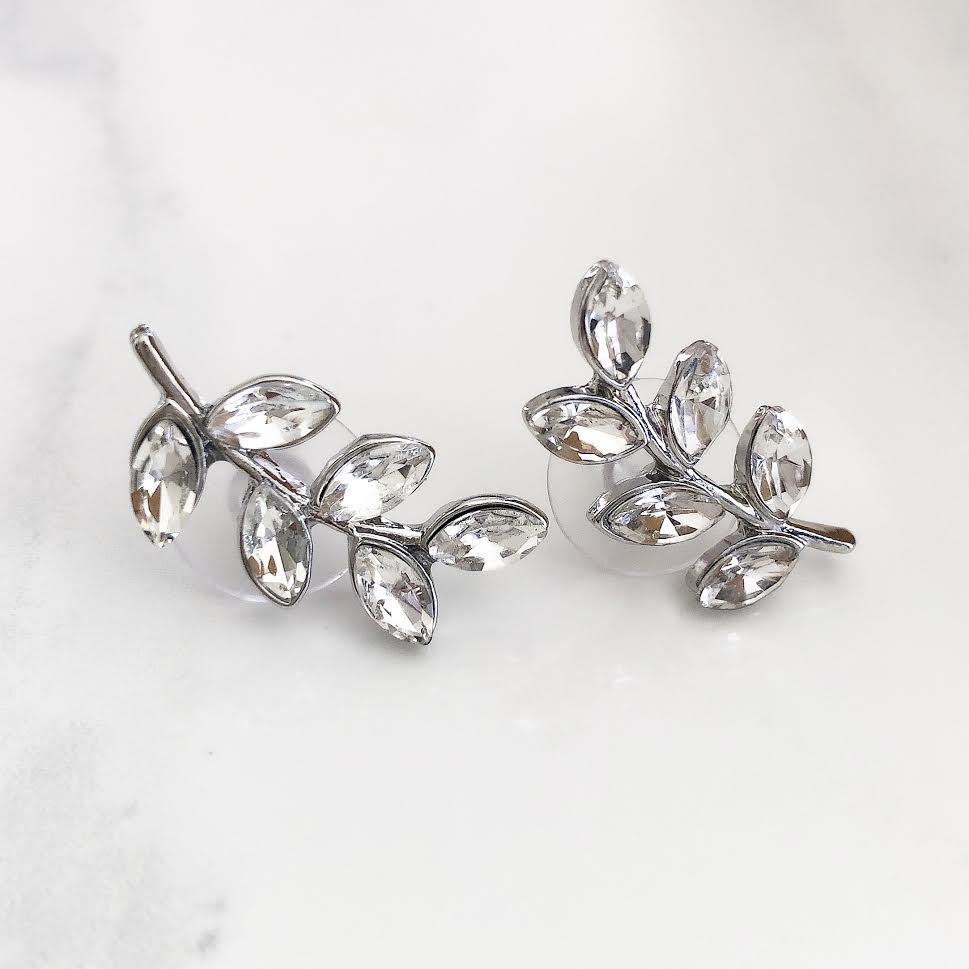 Silver Diamond Leaf Post Earrings