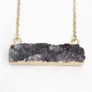 Gold Amethyst Druzy Bar Necklace