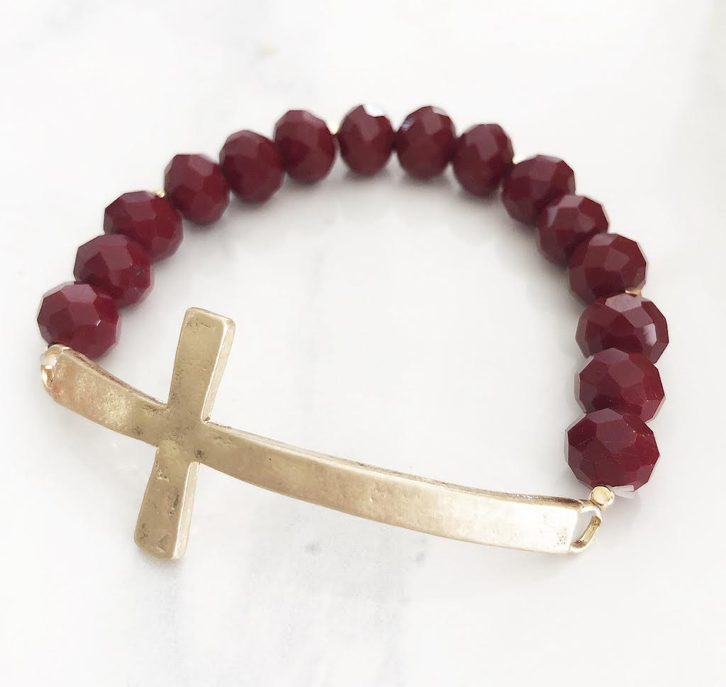 Deep Red Cross Bracelet