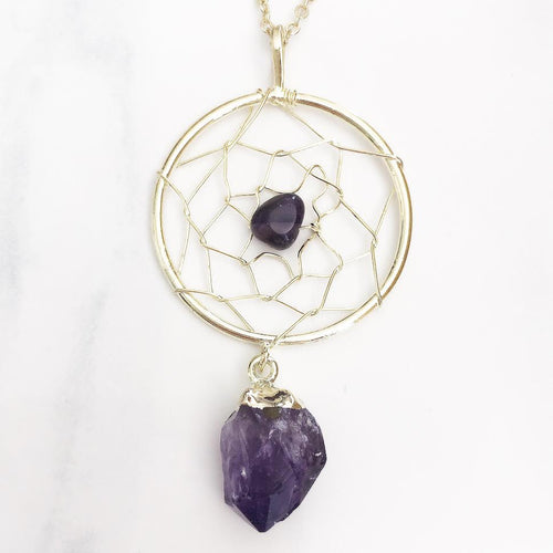 Gold Amethyst Dreamcatcher Necklace