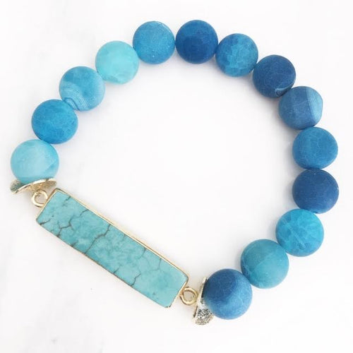 Gold Turquoise Howlite Bar Frosted Blue Agate Bracelet