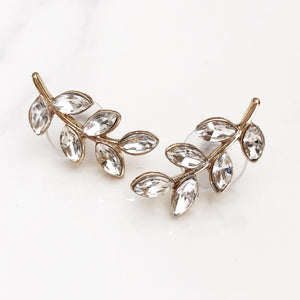 Gold Diamond Leaf Post Earrings