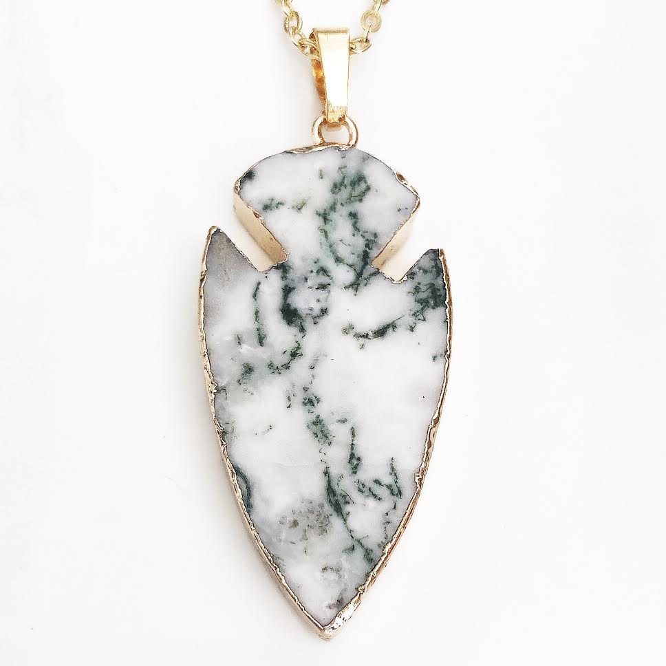 Gold Moss Agate Arrowhead Necklace