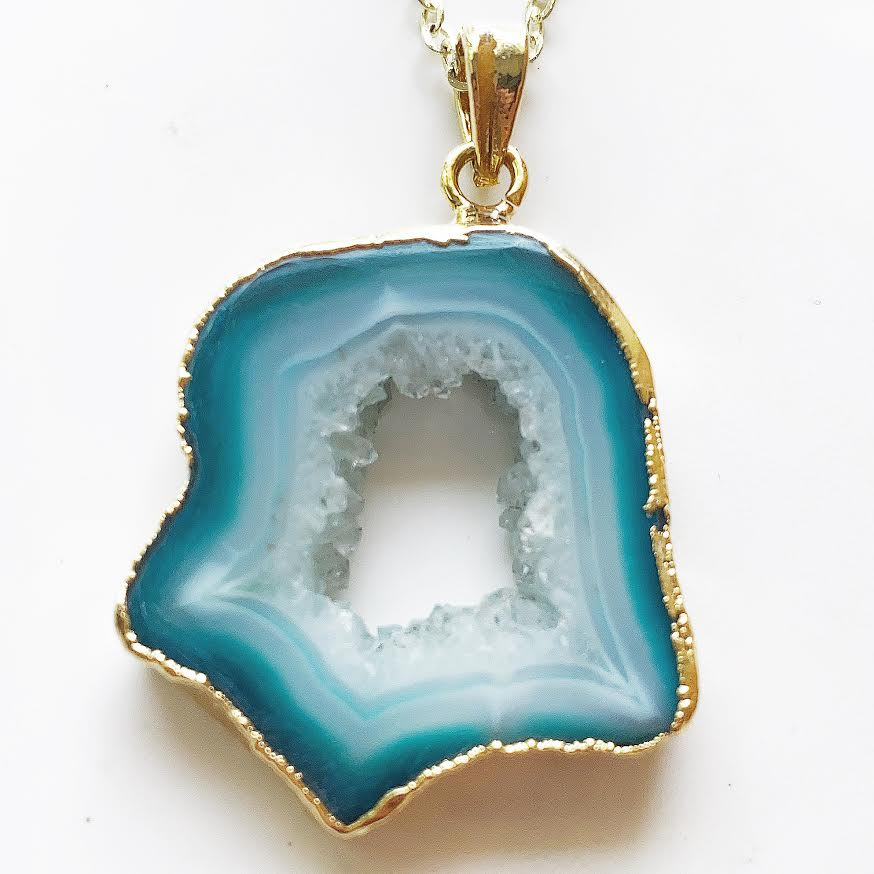 Gold Turquoise Geode Necklace