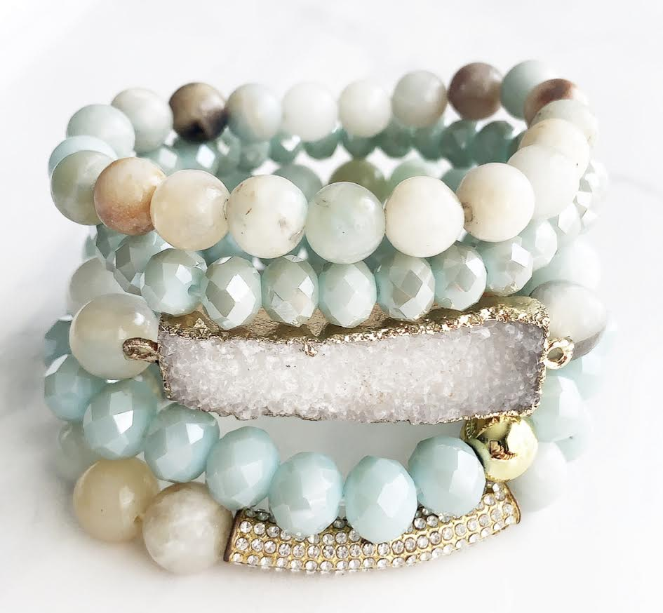 Amazonite Druzy Stackable Natural Stone Bracelets