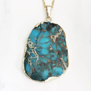 Gold Turquoise Sea Sediment Necklace
