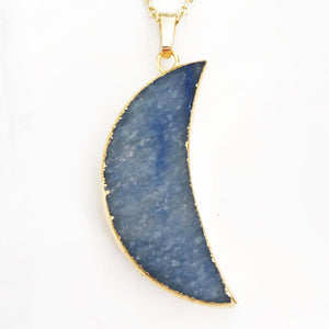 Gold Sodalite Moon Necklace