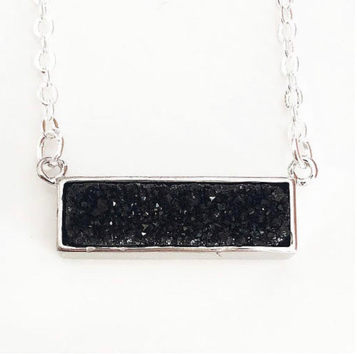 Silver Black Druzy Bar Necklace