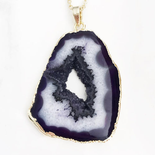 Gold Purple Geode Slice Necklace